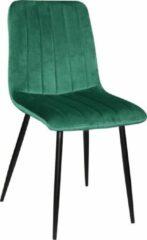 MWI Collectie Eetkamerstoel Milaan velvet - Set van 6 - Groen - Fluweel - Velvet - Eetkamerstoel - Eetkamerstoelen - Woonkamerstoelen