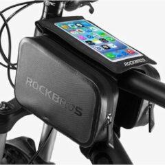 Zwarte Decopatent® PRO Fiets Frametas met Telefoonhouder - Dubbele Fietstassen - Waterdicht - Racefiets - MTB - Fietsen - 6.0 Inch Gsm
