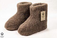 Fast wool Wollen sloffen - laars model - bruin - maat 41