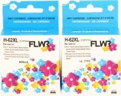 FLWR - Inktcartridge / 62XL / 2-pack Zwart en Kleur - Geschikt voor HP