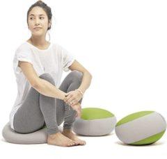 Licht-grijze Meditatieformaat zitzak lichtgrijs en groen Ringo by Terapy