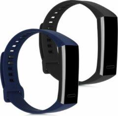 Kwmobile 2x horlogeband voor Huawei Band 2 / Band 2 Pro - siliconen band voor fitnesstracker - zwart / donkerblauw