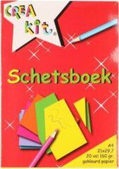 Witte Merkloos / Sans marque Schetsboek A4 gekleurd papier - 20 vellen - Tekenboeken A4 papier