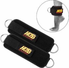 Zwarte Hubb Fitness Gewichtheffen enkel been Straps. D-Ring voor been en Dij Training