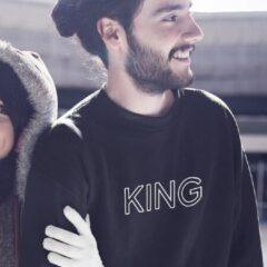 Zwarte B&C Collection King & Queen Trui (King - Maat XS)
