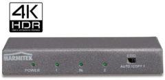 Marmitek Split 612 UHD 2.0 2 poorten HDMI-splitter 3D-weergave mogelijk, Met metalen behuizing, Ultra HD-geschikt, Met ingebouwde repeater 4096 x 2160 pix
