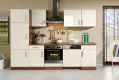 HELD Möbel Küchenzeile Nevada 280 cm Hochglanz creme - ohne E-Geräte