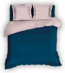 Blauwe Beddengoed Warme Flanel Eenperoons Dekbedovertrek Uni Teal/Roze | 140x200/220 | Hoogwaardig En Zacht | Ideaal Tegen De Kou