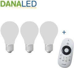 Witte DANALED 3-pack dimbare verstelbare lampenset op afstandsbediening - dimbaar - led bulb eevoudig te dimmen