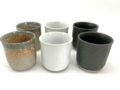 Witte Merkloos / Sans marque Koffiekopjes - koffiemok - koffiebeker - set van 6 kopjes - 150ML - keramiek - hip en trendy