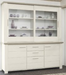 Gamillo Furniture Vitrinekast Toscane L van 208 cm hoog in gekalkte esdoorn met eiken