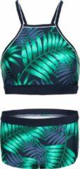 Marineblauwe La V Bikini hipster broekje en crop top met racerback - Tropical leaf 116-122