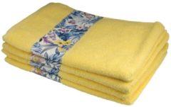 Clé de la Vie Handtuch mit Bordüre, 4er-Set, gelb, 50x100cm