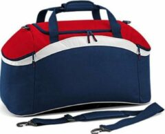 Marineblauwe Bagbase Teamwear sporttas, Kleur French Navy/ Classic Red/ White