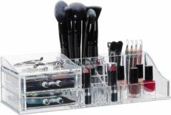 Transparante Relaxdays make-up organizer - acryl - 2 lades- 17 vakken - lippenstifthouder - sieraden doorzichtig