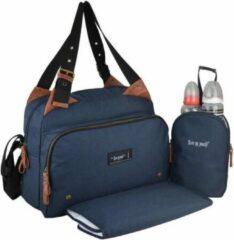 BABY ON BOARD Baby aan boord-luiertas - titou blauwe denim tas - 2 compartimenten 8 zakken - lunch tas - aankleedkussen zak vuile was bevestigingsmiddelen