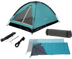 Blauwe Redcliffs Kampeerset - 2-personen - Tent (120x200x100 cm) + Slaapzakken + Matjes