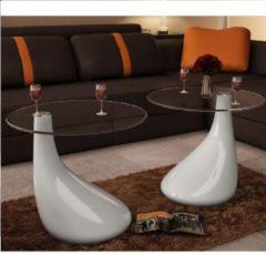 VidaXL Salontafel met rond glazen tafelblad hoogglans wit 2 st