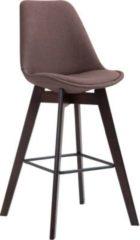 CLP Barhocker METZ mit Stoffbezug und hochwertiger Polsterung I Thekenhocker mit Eichenholzgestell und Fußstütze I Barstuhl mit Lehne und einer Sitzhö