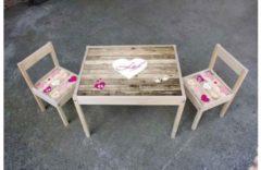 De Fabriek Muurstickers Kinder meubel Houten set steigerhout print met hartjes