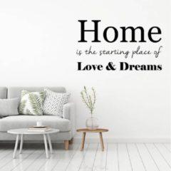 Merkloos / Sans marque Muursticker Home, Love, Dreams - Zilver - 120 x 70 cm - woonkamer slaapkamer - Muursticker4Sale