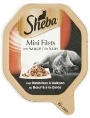 Sheba Mini Filets - Rund/Kalkoen in saus - Aluminium Kuipjes - Katten natvoer - 22 x 85 g