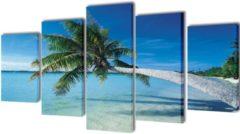 VidaXL Canvas muurdruk set zandstrand met palmboom 200 x 100 cm