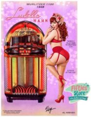Bennies Fifties Wurlitzer 1100 Jukebox Pin-Up Ludella Hahn Zwaar Metalen Bord 44,5 x 29 cm