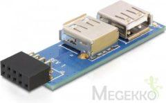 Blauwe DeLOCK 9-pin 2.54 mm/2 x USB 2.0 1 x 9-pin 2.54 mm 2 x USB 2.0-A Zwart, Blauw, Zilver kabeladapter/verloopstukje