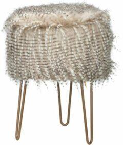 Cosy @ Home Kruk Feathers Beige 32x32xh42cm Hout - Bijzet kruk - Zit krukje - Poef