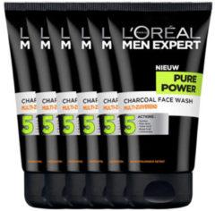 L'Oréal Paris Men Expert Pure Charcoal Gezichtsreiniging - 6 x 100 ml - Voordeelverpakking