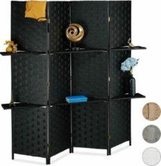 Relaxdays kamerscherm kamerverdeler - roomdivider - scheidingswand - paravent - 4 panelen zwart