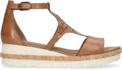 No Stress - Dames - Bruine leren sandalen met sleehak - Maat 40