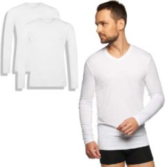 Witte Bamboo Basics - 2-Pack Heren Bamboe T-shirts Lange Mouw – Extra Lang - V Hals – Zwart