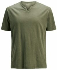 Groene JACK & JONES Split-neck Plus Size T-shirt Heren Green