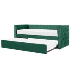 Beliani Bedbank fluweel groen 90 x 200 GASSIN
