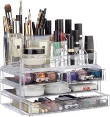 Transparante Relaxdays make-up organizer - tweedelig - cosmetica opbergdoos + lippenstift houder doorzichtig