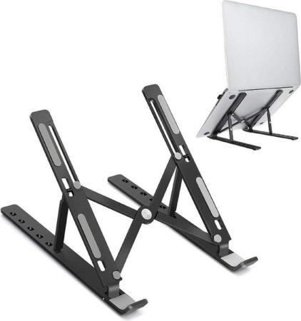Afbeelding van Voomy Office Laptop Standaard - Ergonomisch - Opvouwbaar - Zwart