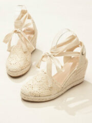 Beige Newchic Lace Closed Toe Cross Strap Espadrille Wedges