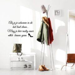 Merkloos / Sans marque Muursticker Als Je Je Schoenen In De Hal Laat Staan - Donkerblauw - 56 x 35 cm - nederlandse teksten - Muursticker4Sale