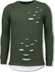 Tony Backer Longfit Sweater - Damaged Look Shirt - Groen Sweaters Heren Sweater Maat S