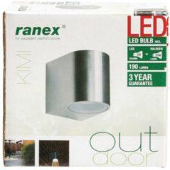 Grijze Ranex LED Wandlamp voor Buiten 3W - Geborsteld Aluminium - Modern Halfrond - GU10 Fitting