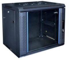 """Zwarte Alfaco 19-6409, 9U, 19"""" wandkast met glazen voordeur, (BxDxH) 600x450x500mm"""