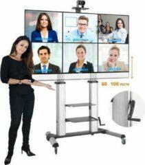 Zilveren STRALEX TV VLOERSTANDAARD PROFESSIONEEL TW61L LARGE MET DRAAIHENDEL