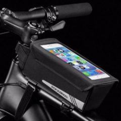 PRO Fiets frametas met Telefoonhouder - Waterbestendige Fietstas voor Touchscreen telefoon houder - Frametas Racefiets/Fiets/Koersfiets/Mountainbike/MTB fietsen - Regenbestendige Fiets Frametas - 6.2 Inch Gsm's - Zwart - Decopatent®