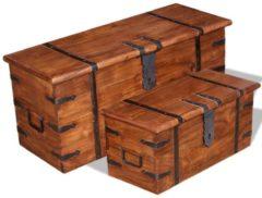 Bruine VidaXL 2-delige Opbergkistenset massief hout