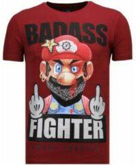 Rode Local Fanatic Fight Club Mario - Rhinestone T-shirt - Bordeaux - Maten: XL