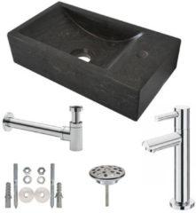 Douche Concurrent Fonteinset Natura Rechthoek Rechts 40x22x10cm Hardsteen Antraciet Chroom Toiletkraan Sifon Plug Bevestigingsset