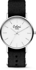 Colori XOXO 5 COL543 Horloge - Nato Band - Ø 36 mm - Donker Bruin / Zilverkleurig