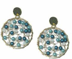 Stars 4 you Oorbellen   rond   blauw   turquoise   wit   kralen   goudkleurige stekers